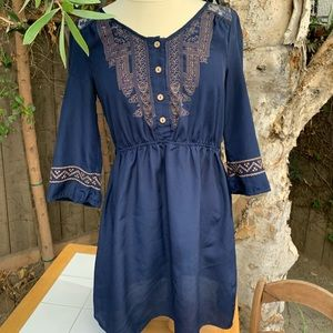 Blue vintage style dress with lace backing